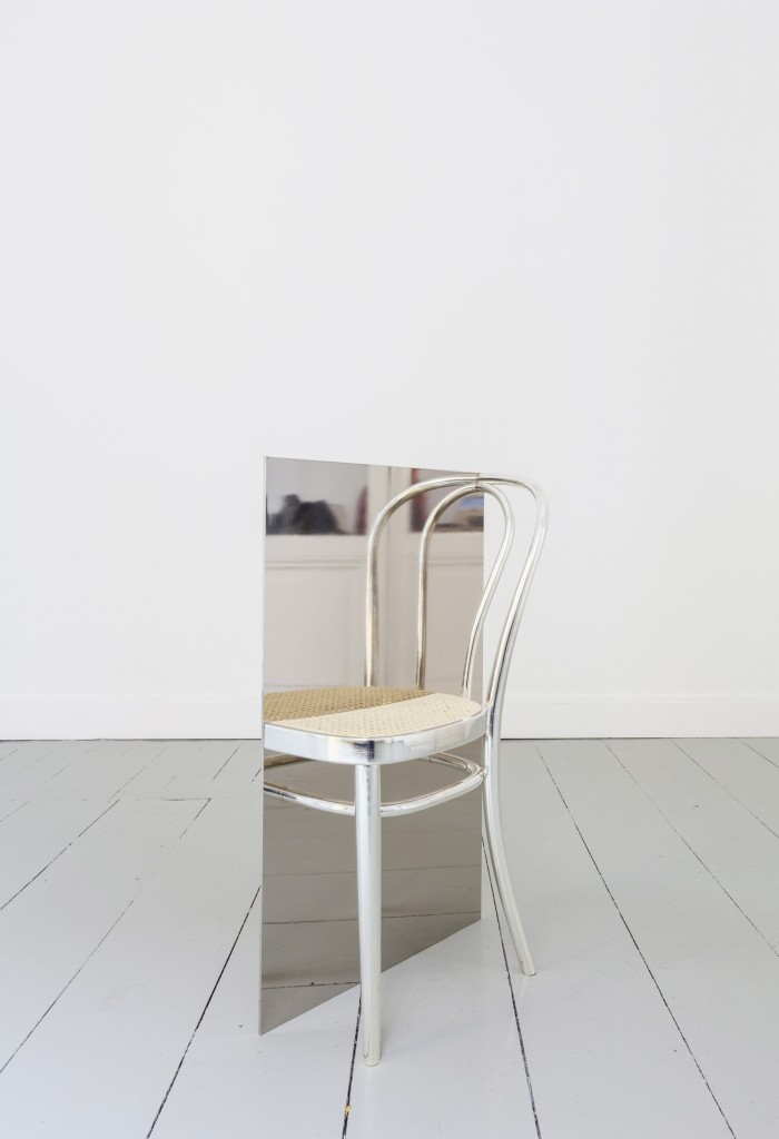 (2) Permanent Selfie, 2019, Half Thonet chair, board, silver coating, 90 x 54 x 28,5cm
